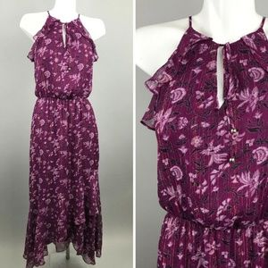 WHBM Purple Sleveless Floral Casual Maxi Dress